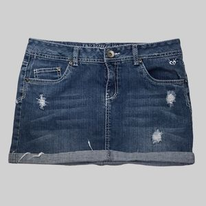 JUSTICE DISTRESSED DENIM SKORT